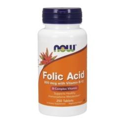 Now Foods, 250 Tabletten Folsäure 800mcg vegetrisch mit Vitamin B12